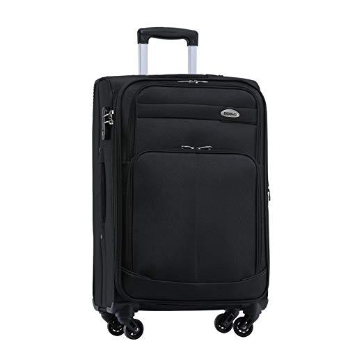 BEIBYE 4 Rollen Reisekoffer 3tlg.Stoffkoffer Handgepäck Kindergepäck Gepäck Koffer Trolley Set-XL-L-M (Schwarz, L-Mittlerer Koffer-64cm)