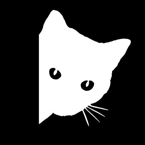 JOOEE 1215cm Peep Cat Face Katze Persönlichkeit Auto Aufkleber Motorrad Aufkleber Dekorative Auto Fenster Aufkleber, Weiß, 12 * 15 cm -