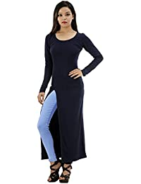 Fashion Parakeet | High Slit Maxi Top-Navy Blue | Round Neck | Full Sleeves