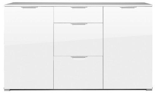 Germania 0268-84 Sideboard mit Hochglanz-Fronten und Oberboden GW-Event in Weiß, 144 x 84 x 40 cm (BxHxT)