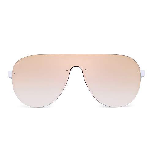 JIM HALO Ein Stück Schild Sonnenbrillen für Damen Herren Flach Top Randlos Spiegel Linsen(Weißer Rahmen/Spiegel Rosa Linse)
