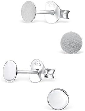 2 Paar kleine flache runde 925 Silber Ohrstecker Ohrringe poliert und matt 4mm