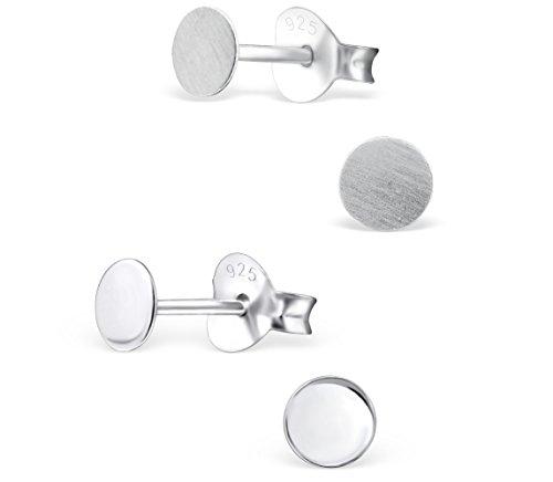 schmuxxi 2 Paar kleine flache runde 925 Silber Ohrstecker Ohrringe poliert und matt 4mm