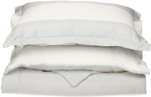Impressions Superior - Knitterfestes Bettbezugsset mit Cabana-Streifen, 229 x 234 cm, Fadenzahl 600, Baumwollmischung, weiß, 3-teilig. -