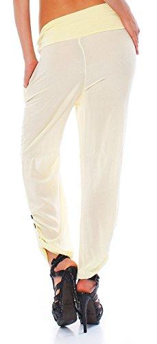 Moda Italy Damen Pumphose Haremshose Sommerhose Aladinhose Gelb