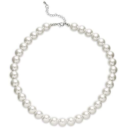 BABEYOND Damen Perlen Ketten Kurze Runde Imitation Perle Halskette Hochzeit Perlenkette für Bräute Weiß (Durchmesser der Perle 12mm) - Perlen Kurz