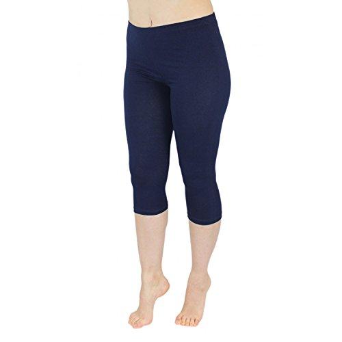 Blickdichte Leggings für Damen Capri Hose Leggins Bunt aus Baumwolle 3/4 Länge, Farbe: Dunkelblau, Größe: 40-42
