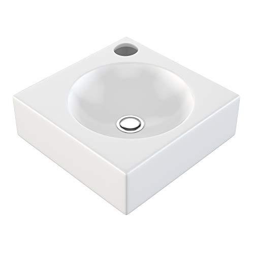 NEG Waschbecken Uno30H (klein/eckig) Hänge-Waschschale/Waschtisch (weiß) mit flachem Rand und Nano-Beschichtung