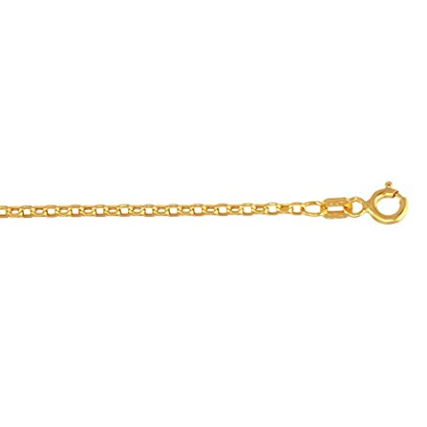 14ct Yellow Gold 1.5mm Diamond-cut Hollow Oval Rolo Chain Necklace With Lobster Clasp - 46 Centimete