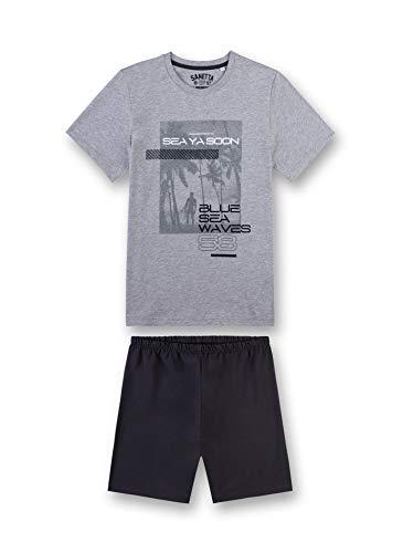 Sanetta Jungen kurz Zweiteiliger Schlafanzug, Grau (Grey Mel. 1737), Herstellergröße: 176