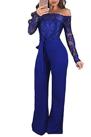 Immagine non disponibile. Immagine non disponibile per. Colore  Donna  Jumpsuit Pantaloni Lunghi Vintage Pizzo Playsuit Tuta Eleganti Spalla off  ... 6ad1e0a4f9d