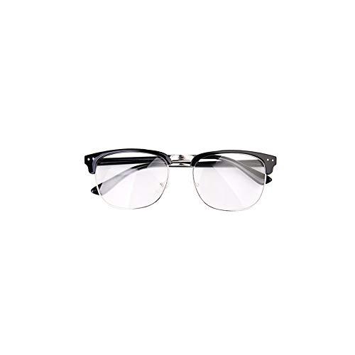 Unisex Retro Plain Gläser Weinlese optische Brillen nicht verschreibungspflichtige Halb Rahmen Brillen mit klaren Objektiven sind für Schwarz