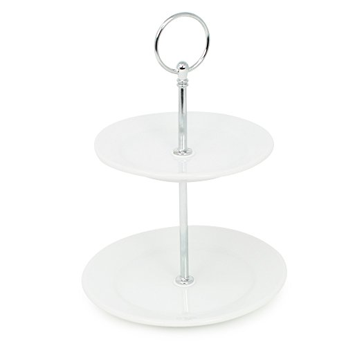 com-four® Etagere aus Porzellan mit 2 Ebenen für z.B. Gebäck, Obst oder Pralinen (01 Stück Porzellan - Höhe 21.5 cm)