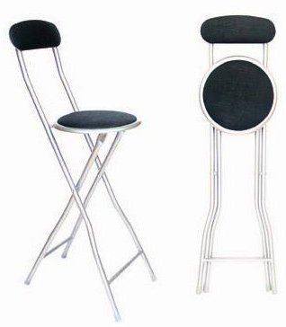 New Quality Folding Black Bar Stool Chair For Parties Office Home Breakfast Stool produced by FunkyBuys® - quick delivery from UK.