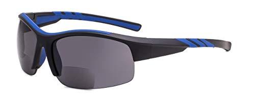 Eyekepper TR90 Unzerbrechlich Sport Bifokal Halbrand Sonnenbrille Baseball Laufen Angeln Fahren Golf Weicher Ball Wandern Schwarz-Blau Rahmen +2.25