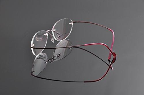 De Ding femmes de lunettes sans monture en titane rose