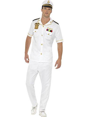 Smiffys Herren Kapitän Kostüm, Oberteil, Hose und Hut, Größe: L, - Kapitän Hut Kostüm