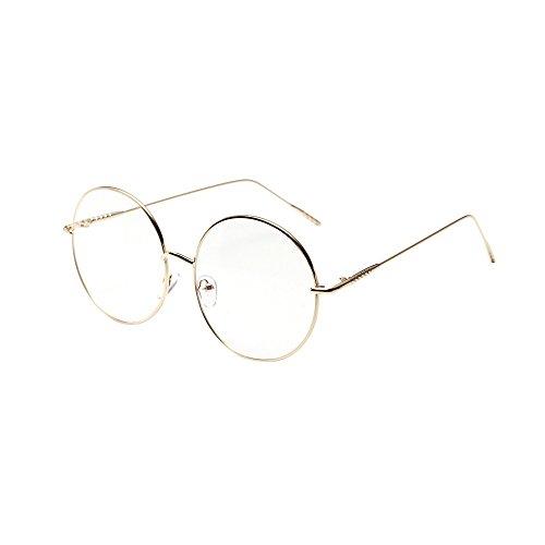 KUDICO Dekobrille Rundes Brillengestell Metall Optischer Rahmen Neue Mode nicht verschreibungspflichtige Brille für Damen und Herren(Gold, One Size)
