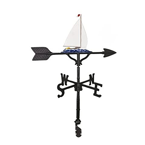 Montague Metal Products 32-Inch Weathervane with Color Sailboat Ornament