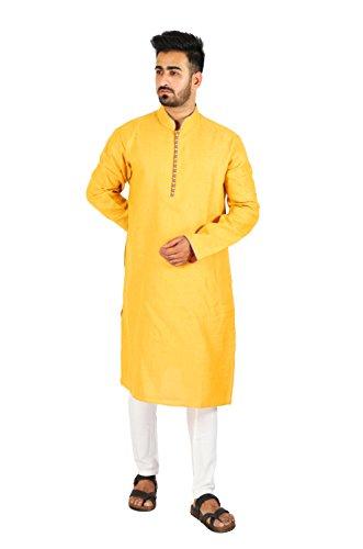 Thaath Men's Yellow Ethnic Kurta & Churidar Set