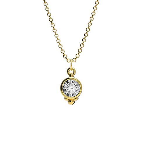prettique Damen Halskette Luna mit rundem Anhänger mit Zirkonia Stein (gold)