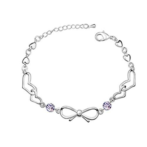 Beydodo Weiße Vergoldet Damen Armband (Gliederarmband),Österreich Kristall Bowknot Herz Lila CZ Zirconia 16CM