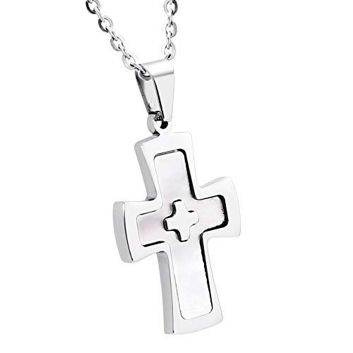 ANAZOZ Edelstahl Epoxy Kreuz Silber Anhänger Halskette FürHerren,Größe:2.8x3CM Eingraviert