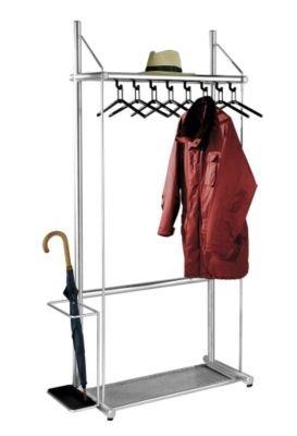 Reihengarderobe, alusilber - mit 10 Kleiderbügeln, Höhe 1850 mm Breite 1190 mm, mit Schirmhalter - Garderobe Garderoben-System Garderoben-Systeme Garderobensystem Jackenständer Wandgarderobe