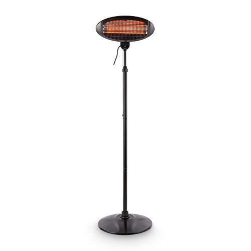 Blumfeldt Shiny Hot Roddy Estufa de terraza - Calefactor de pie Infrarrojo , Radiador de Calor para Patio , 2000 W MAX , 3 Tubos calefactores en Cuarzo , 3 Niveles , hasta 15 m2 , Negro