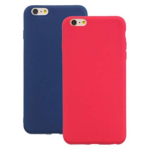 "Misstars Silikon Hülle für iPhone 6S Plus, Soft Flex TPU Case im Candy Design Ultra Dünn Matt Weich Handyhülle Anti-Stoß Kratzfeste Schutzhülle für iPhone 6 Plus / 6S Plus (5,5""), Rot + Dunkelblau"