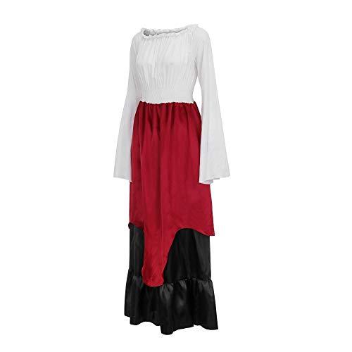 HHyyq_Kleid HHyyq Damen Mittelalterliche Kleid mit Trompetenärmel Mittelalter Party Kostüm Maxikleid,Vintage Mittelalterliche Kleid Cosplay Kostüm Maxikleid(rot,XXL) (Kleine Kostüm Kleiderschrank)