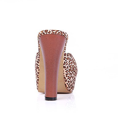 LvYuan Da donna-Sandali-Ufficio e lavoro Formale Serata e festa-Club Shoes-Quadrato-Tessuto PU (Poliuretano)-Nero Marrone Rosso Brown