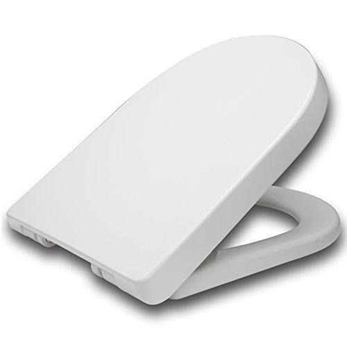 WOLTU WS2544 Toilettendeckel WC Deckel Sitz Absenkautomatik, Kunststoff, Fast Fix/Schnellbefestigung, Softclose Scharnier, Antibakteriell