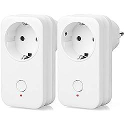 Prise Intelligente, Yuanguo 2500W 10A Prise Connectée Wi-Fi Compactible avec Alexa Google Home IFTTT Prise Courant Télécommande de Contrôle Port USB Fonction Timer et Application de Contrôle