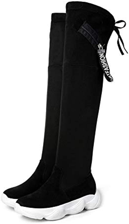 Innerternet_Chaussures Botte Cuissarde Femme Talon Hiver Haut Boots Plateforme Sexy Longue Chaude Hiver Talon Genou Haut Plat...B07HSWJBSTParent 7ea246
