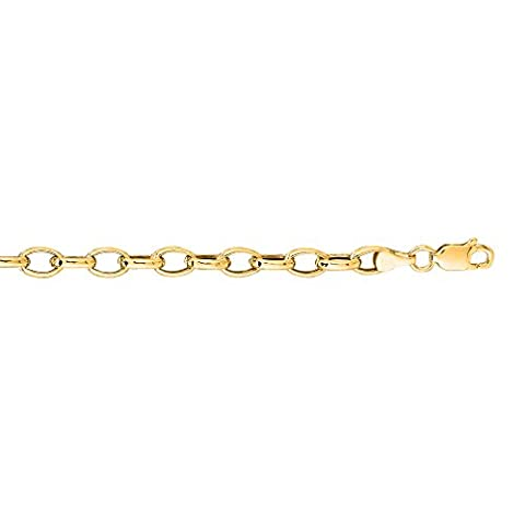 14K Yellow Gold 4.5mm wide Diamond Cut Oval Rolo Chain 18