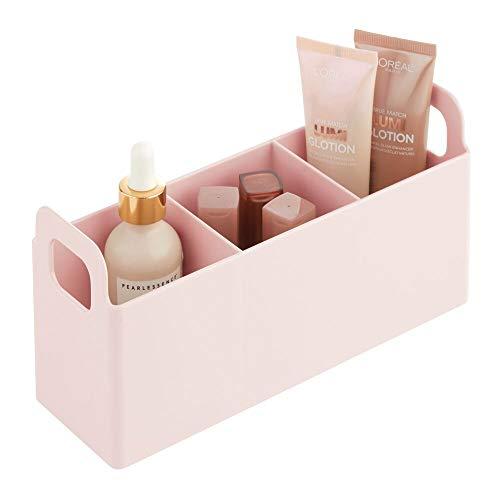 mDesign Kosmetik Organizer mit Griffen fürs Badregal - praktische Box zur Schminkaufbewahrung mit 3 Fächern für Make-up und Nagellack - Kosmetik Aufbewahrungsbox aus BPA-freiem Kunststoff - rosa
