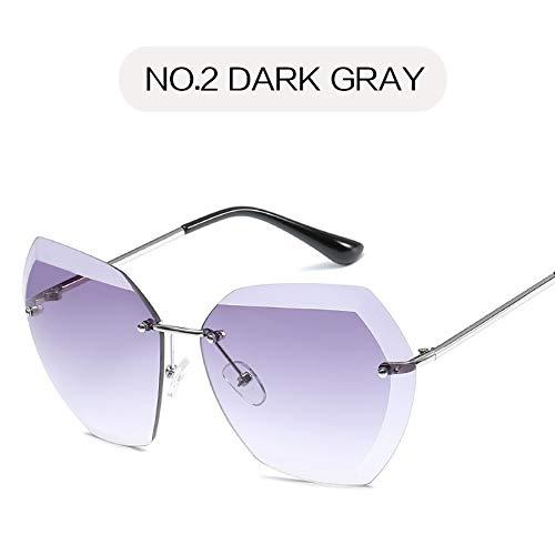 Sonnenbrille Übergroße Sonnenbrille Frauen Retro Diamond Cutting Objektiv Sonnenbrillen Damen Metall Klare Gläser Rahmenlosen Brillen Uv400 Schwarz Lila