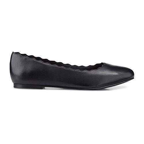 Cox Damen Damen Trend-Ballerina aus Leder, Slipper in Schwarz mit eleganter Laufsohle schwarz Glattleder 38