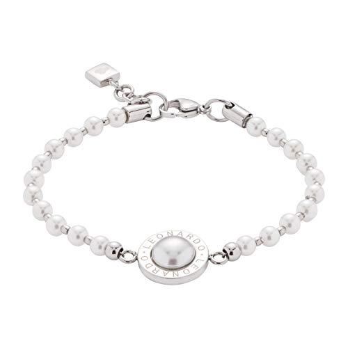 JEWELS BY LEONARDO Damen-Armband Matrix Perla, Edelstahl mit Perlmutt-Cabochon, Imitations-Perlen und LEONARDO-Gravur, Länge 180 mm, 016454