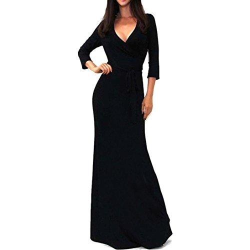hansee Frauen Mantel Solid V-Ausschnitt 3/4Sleeve Bodenlang lang Maxi Band Kleid, damen Mädchen, 0814, schwarz (Mädchen-schwarz-samt-kleid)