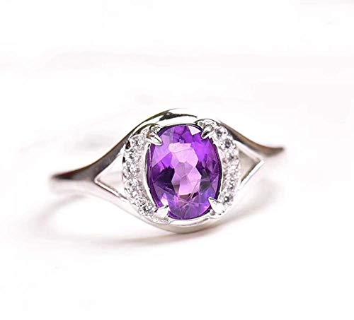 ZXH Amazons Neue natürliche Amethyst/Citrin Ring S925 Silber Platinumplating natürlichen Kristall Ring Frau Mode Öffnung Zeigefingerring,Lila