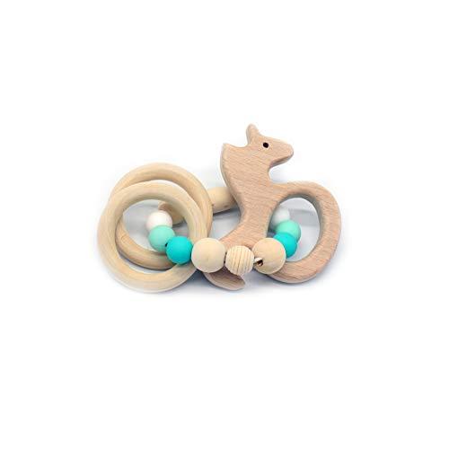 JER Langlebiges Silikon Holz Rasseln Baby Safe Ring Beißring Hand Entwicklung Educational Kinder Spielzeug Seepferd Stil Spielzeug