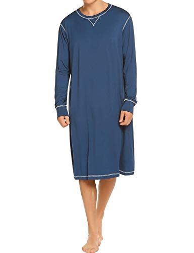 EKOUAER Herren Lounge Langarm Kaftan nachtwäsche Baumwolle Pyjamas Shirts x-Large blau