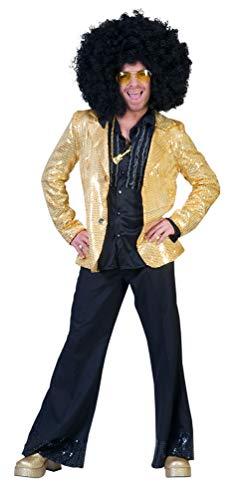 Karneval-Klamotten Disco Kostüm Pailletten Jacke Gold Herren Glitzerjacke Größe 56/58