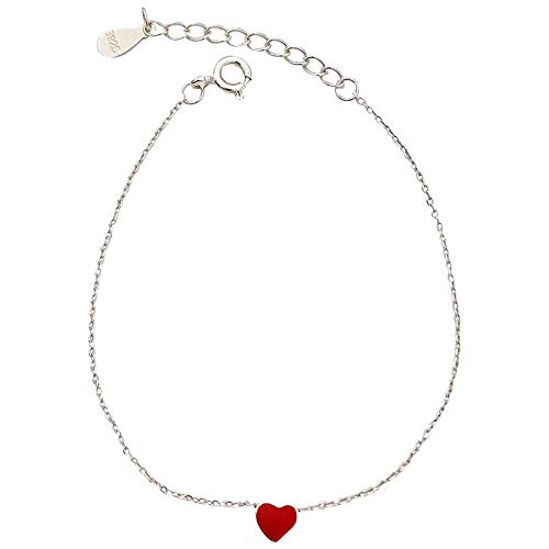 Myzixuan 925 Sterling Silber niedlichen roten Pfirsich Herz Herzform Armband Herzen wenig Armband Dame Hand Dekoration Dame Geschenk