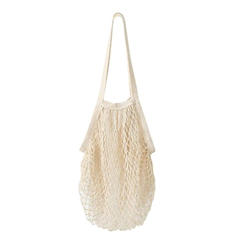 feiXIANG Netzschnur-Einkaufstasche Wiederverwendbare Mesh Bag Langer Griff Einkaufstasche Portable Obst String Bag Organizer umhängetasche. (Freie Größe, Weiß) - Küche Storage-lösungen
