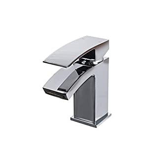 Lauder Modern Waterfall Effect Square Basin Sink Mixer Tap incl Clicker Waste Lifetime Guarantee