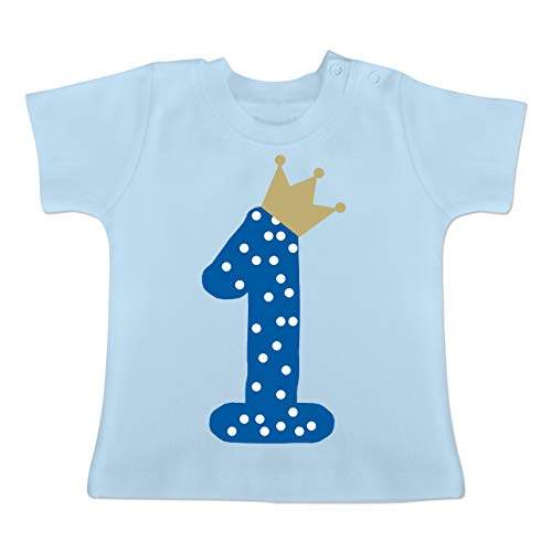Geburtstag Baby - 1. Geburtstag Krone Junge Erster - 18-24 Monate - Babyblau - BZ02 - Baby T-Shirt Kurzarm