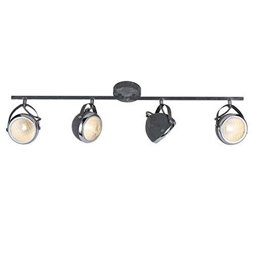 Spot Tubo, 4focos, orientables), 4x G9Max. 33W, metal/cristal, Gris Hormigón